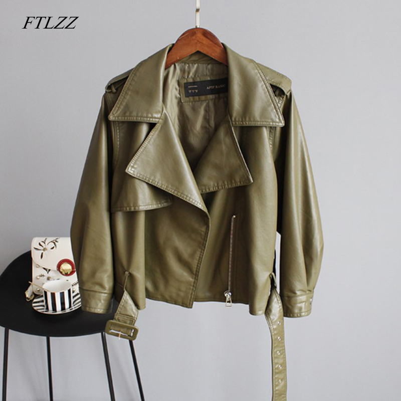 FTLZZ New Autumn Pu Motorcycle Faux Soft   Leather   Women Jacket Coat Turn-down Collar Long Sleeve Epaule Female Loose Short Jacket