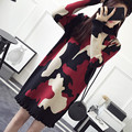 NEW hot sale women's autumn winter spring long style knit sweaters dress woman college wind sweet Camouflage pullovers sweater