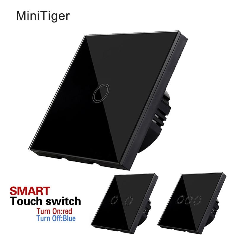 MiniTiger EU Standard Luxus Schwarzen Kristallglas, Wandschalter, Touch-schalter, normalen 1/2/3 Gang 1 Way Schalter, 170-250 V