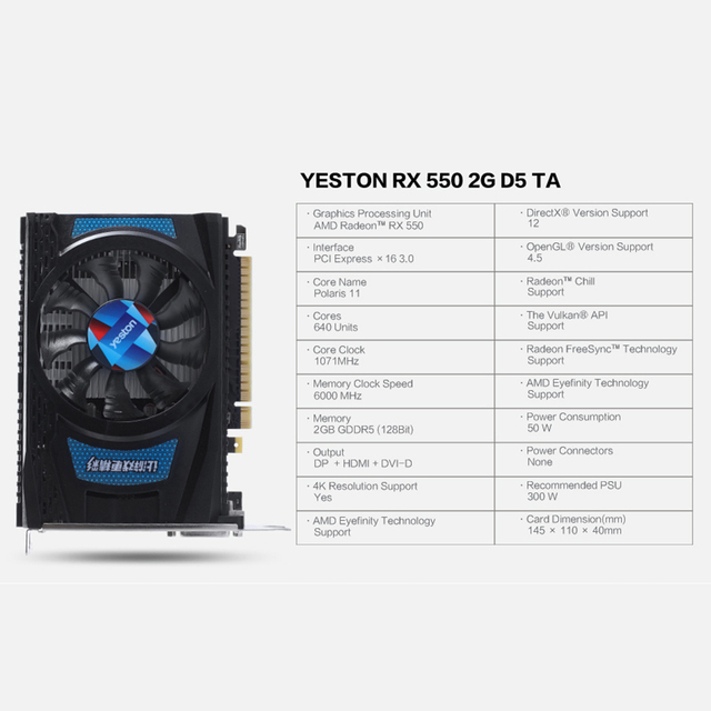 Yeston Radeon RX 550 GPU 2GB GDDR5 128bit Gaming Desktop computer PC Video Graphics Cards support DVI-D/HDMI PCI-E 3.0 5