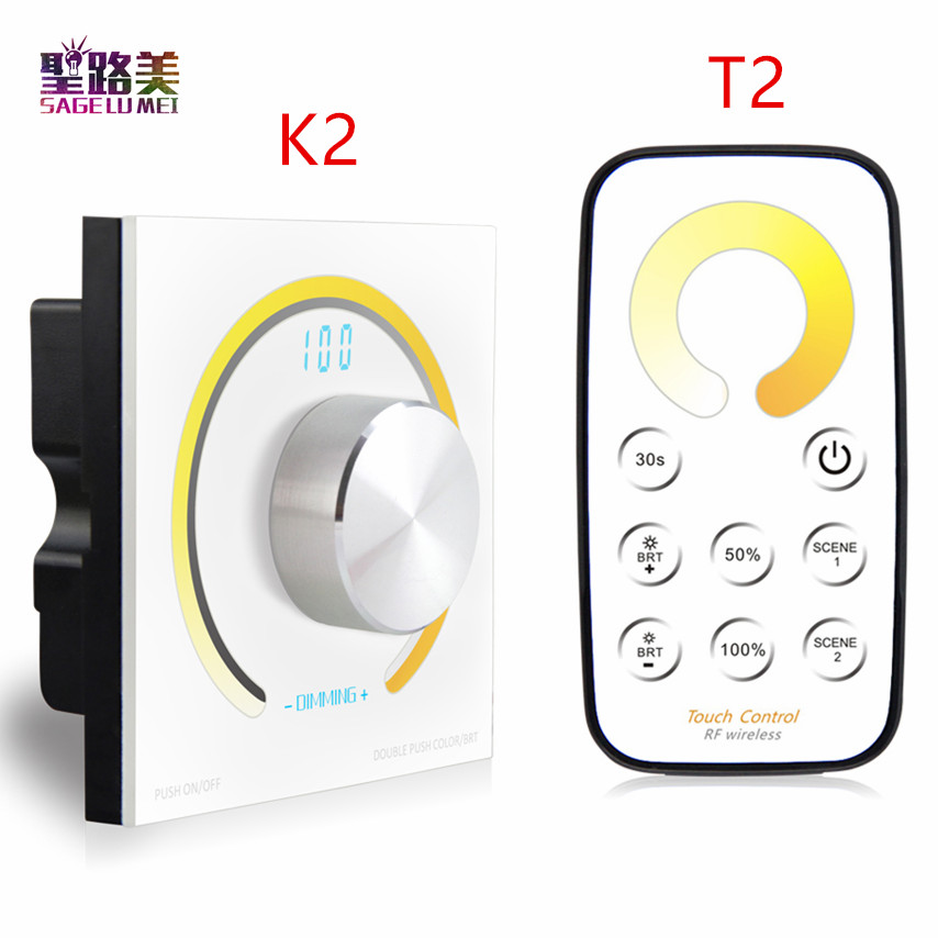 цена на Rotary CCT touch panel dimmer Switch knob RF wireless remote color temperature controller for 5050 led strip light DC12V - 24V