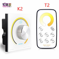 Rotary CCT touch panel dimmer Switch knob RF wireless remote color temperature controller for 5050 led strip light DC12V 24V
