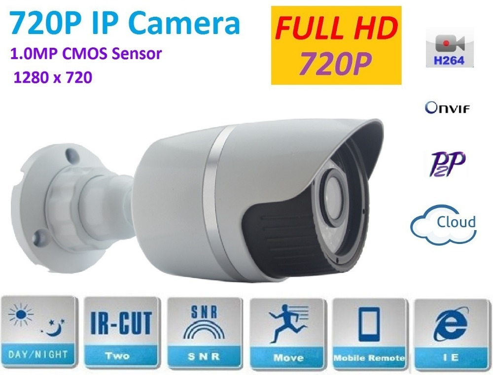 1280*720P 1.0MP  Bullet 720P HD IP Camera ONVIF Waterproof In/Outdoor IR CUT Night Vision P2P H.264 Plug and Play Network camera bullet camera tube camera headset holder with varied size in diameter
