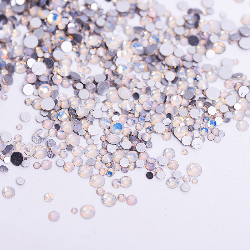 1pack Mix Sizes Glass White Opal Crystal Non Hotfix Flatback Rhinestones Nail Rhinestones Nails Accessorie Nail Art Decoration ss3 nail rhinestones decoration glass rhinestones for nails 3d nails art manicure strass nail art decorations cz60940