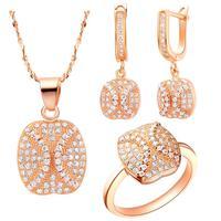 Simetria do Embutimento Zircon Rose Gold & Branco da Forma Redonda do vintage Conjuntos de Jóias de Ouro Para As Mulheres Charme Colar/Anel/brincos T116-8 #