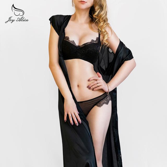 2017 New Arrival Girls Underwear Set Push-up Thin Cotton Half Cup Lace Bra And Panty Set Women Lingerie Big Size Bra set