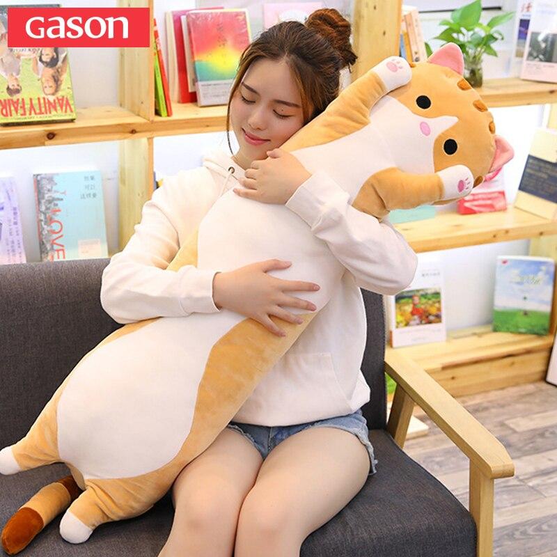 GASON 70/90/110 cm Mignon chat en peluche jouet poupée de couchage longue oreiller poupée poupée oreiller poupée à envoyer filles enfants cadeau oreiller plancher