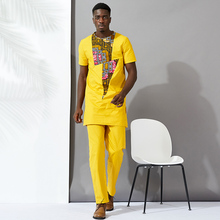 african men clothes bazin tops shirt pant 2pieces set Stitching wax material cotton mens clothing