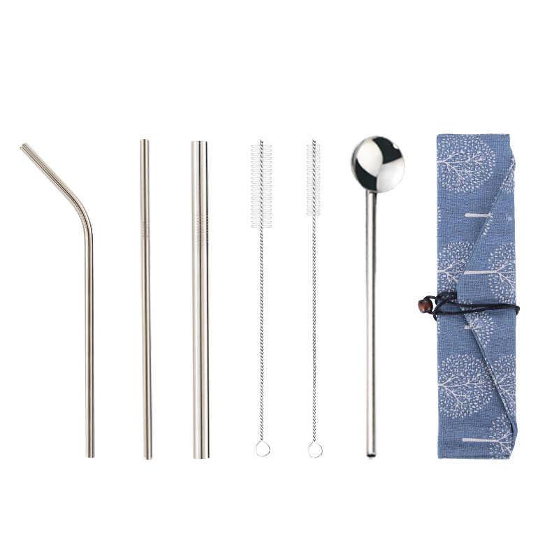 7 stks/partij 304 Roestvrij Staal Stro Set Herbruikbare Rietjes Lepel + Borstel + Strozak Metalen Drink Rietjes bar party Accessoire