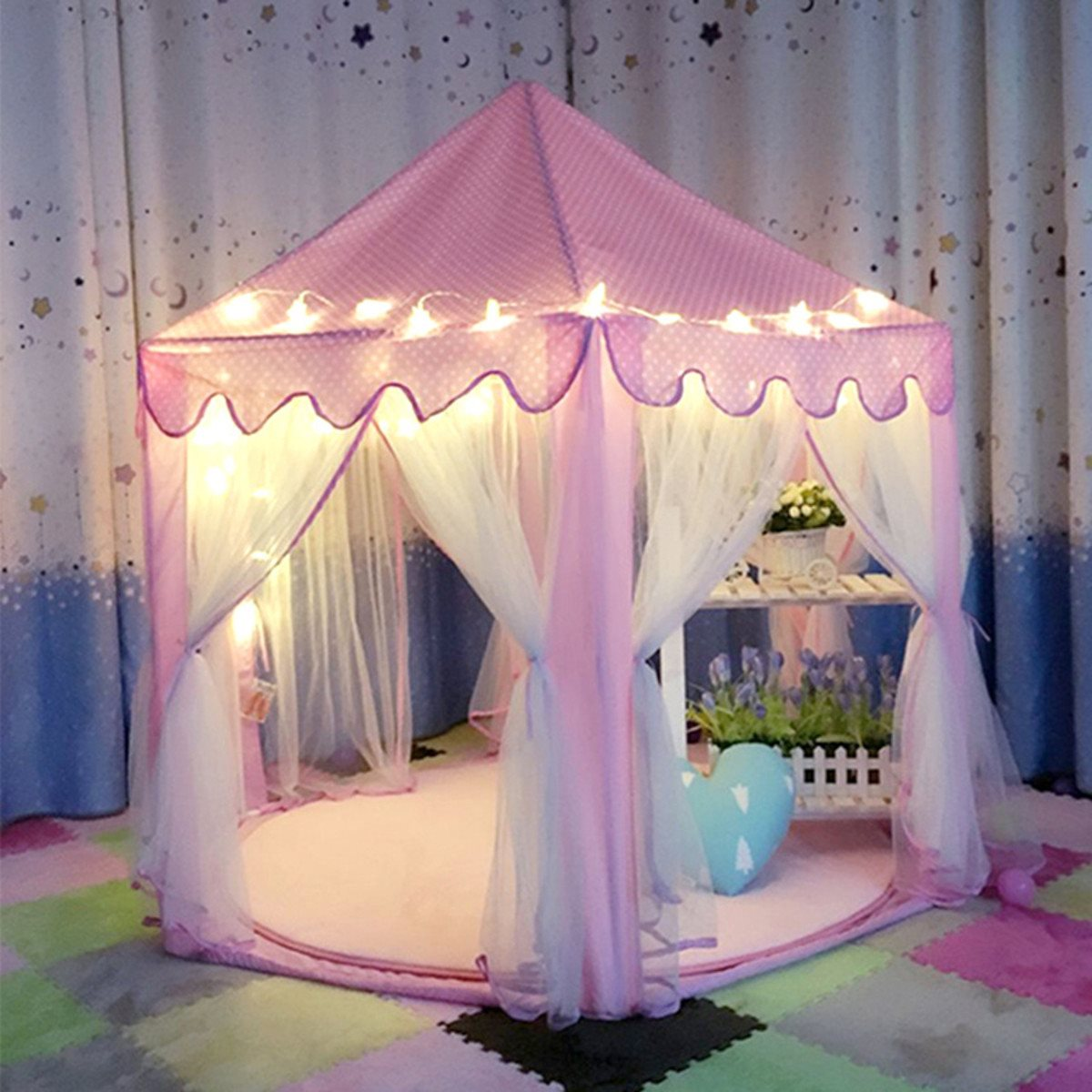 Lovely Girls Pink Princess Castle Cute Playhouse Children Kids Play Tent Outdoor Toys Tent For Children Kids princess 132502 pink