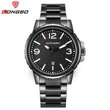 Longbo lujo de la marca impermeable Casual hombres reloj de cuarzo reloj de acero inoxidable relojes deportivos hombres del Relogio Masculino 80182 G