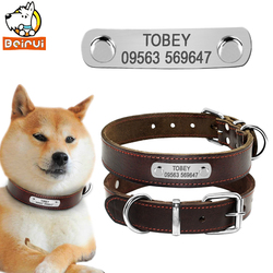 Customized Dog Collar Genuine Leather Personalized Adjustable Dogs ID Collars Anti Lost For Small Medium Large Dogs Pet