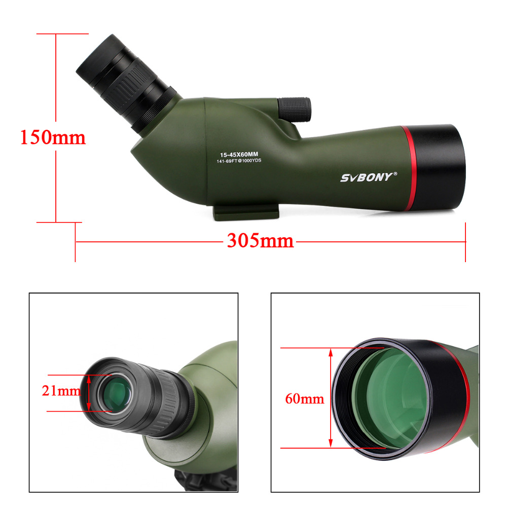 Image 4 - SVBONY 15 45x60 Telescope SV19 BAK4 Prism Nitrogen Waterproof for Archery Birdwatching FMC Spotting Scope +Phone Adapter F9328G-in Spotting Scopes from Sports & Entertainment
