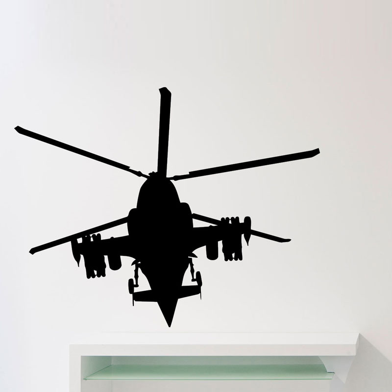 Military Forces Helicopter Wall Stickers Kids Bedroom Airplane Silhouette Wall Stickers Home Decor Living Room