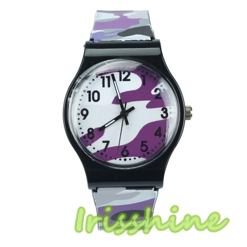 Irissshine Barn titta på Camouflage Watch Quartz Armbandsur för tjejer Boy # 200717