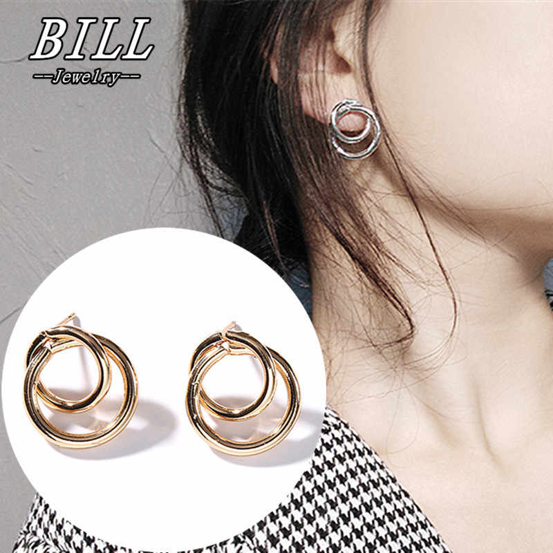 ES712 Stud Earrings for Women Punk Double Round Geometric Earring Fashion Jewelry Brincos 2018 Steampunk Bijoux HOT Selling