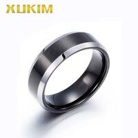 TSR221 Xukim Jewelry stainless steel rings black men wedding rings Tungsten men ring sliver band new hot full finger ring