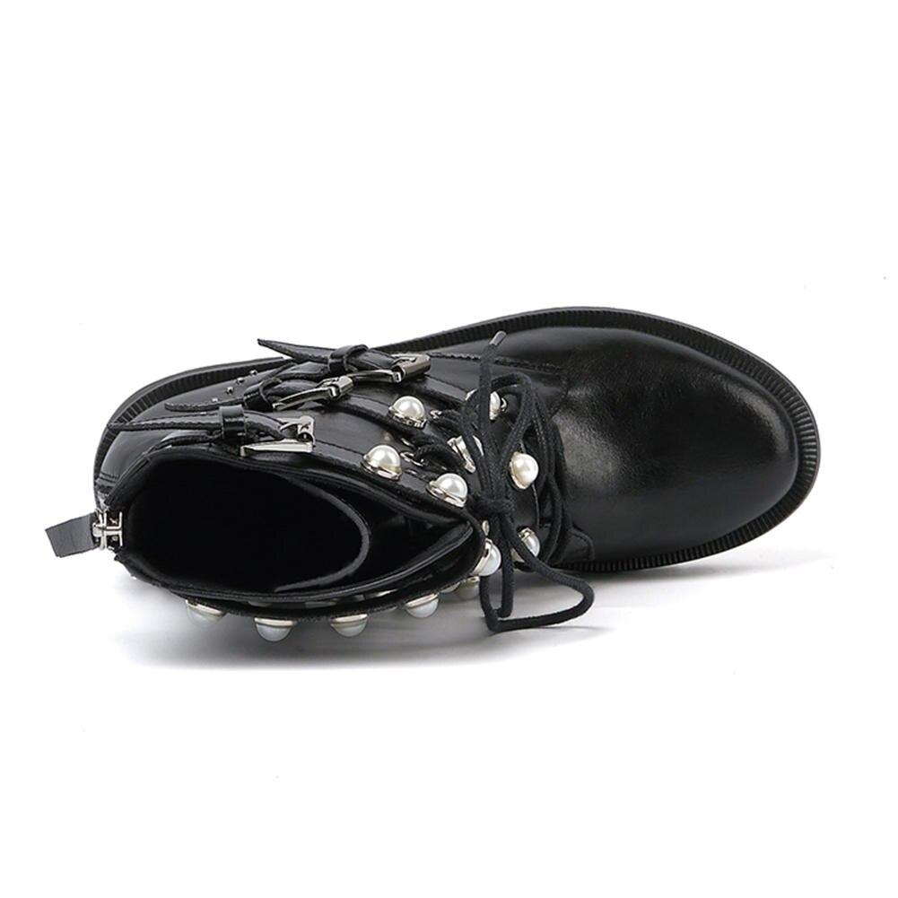 Véritable Chaussures Boucle Perle Printemps Femmes Décontracté Femme De Bottines Cuir Martin Pour Bottes Noir X0vXrU