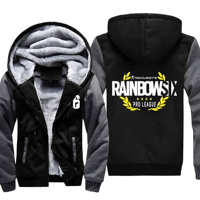 High-quality Winter Rainbow Six Siege Hoodie Men's Winter Casual Super Warm Thicken Fleece Zip Up Sweatshirt Coat plus size 5XL
