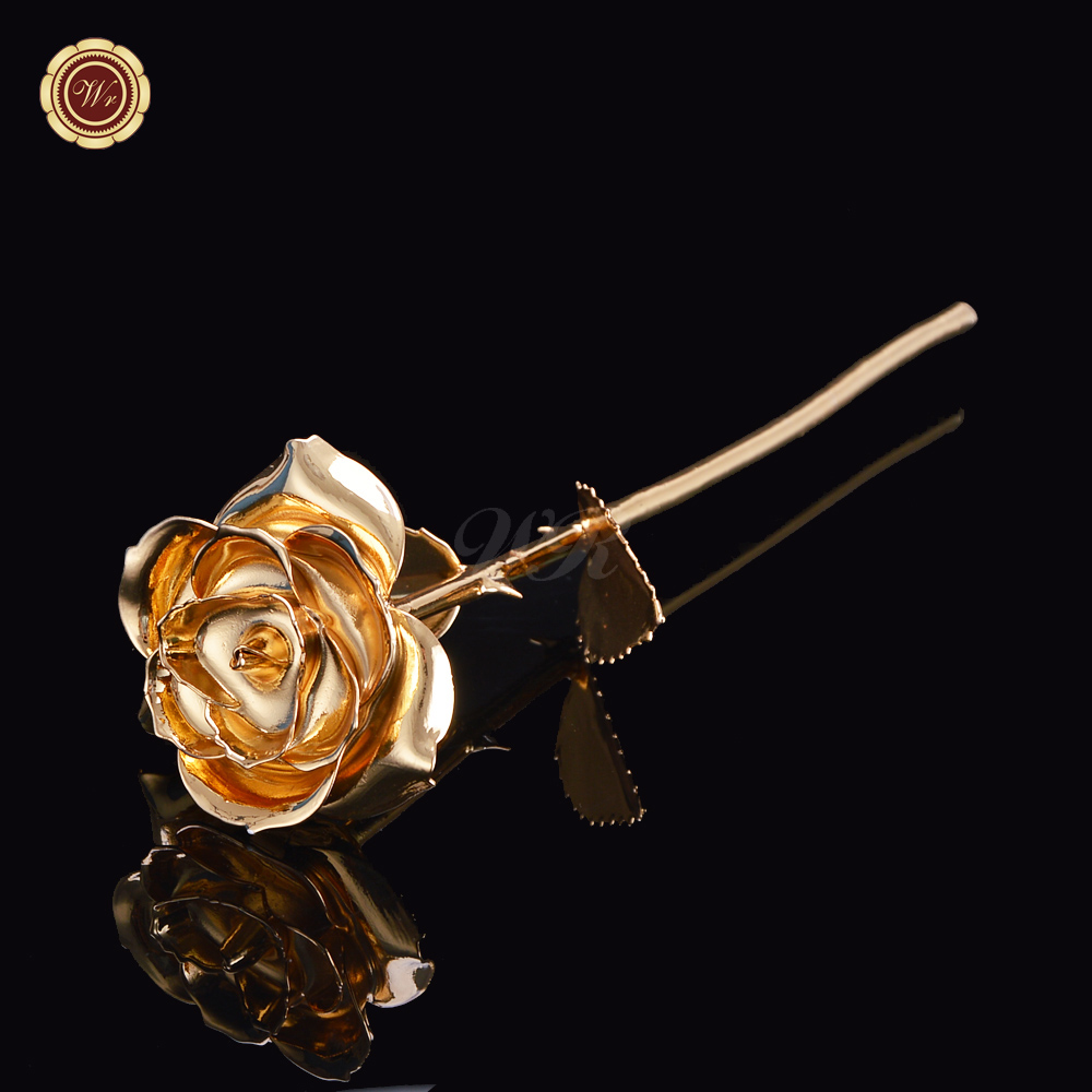 2016 Wedding Decoration Beautiful 24 K Gold Rose Real  Rose Flowers Arts And Crafts Decor For Women Birthday Gift Free Shipping