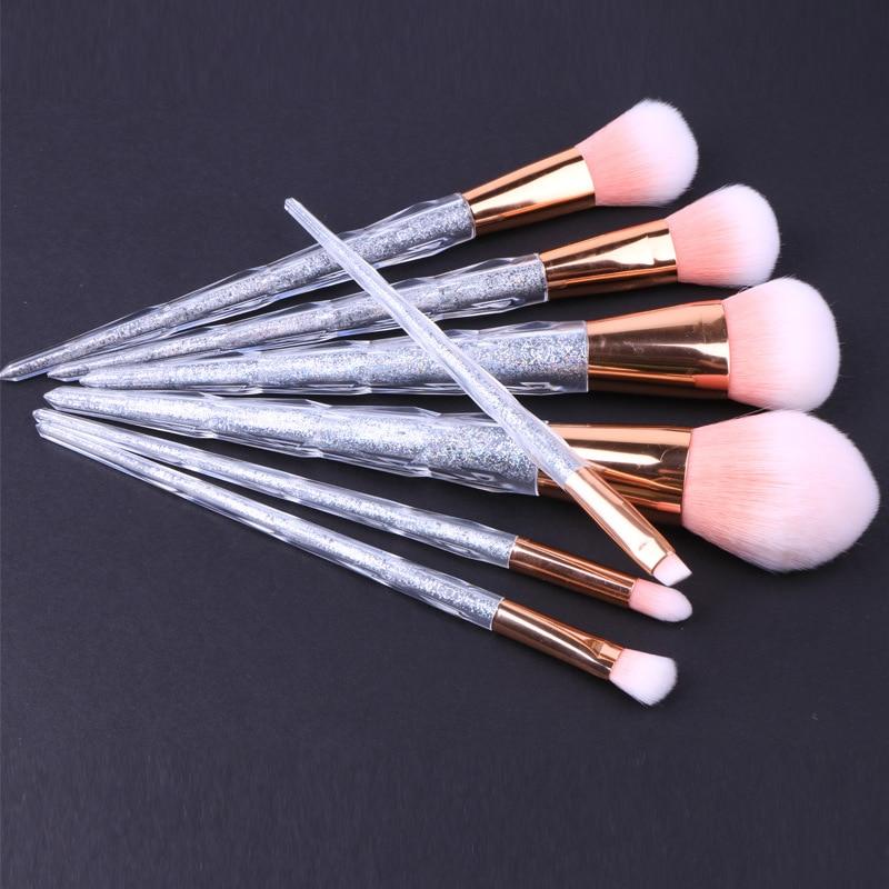 7 Pcs Unicorn Shape Professional Crystal Handle Makeup Brush Tool Set Nylon Hair Eye Shadow Brushes Blush Brush Kit