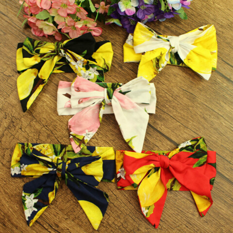 2018 Newest 5pcs New Girls Kids Big Bowknot Headband Lemon Pattern Turban Knot Hairband Head Wrap Hair Band Accessories ...