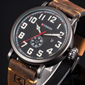 Часы CURREN с кожаным ремешком  мужские модные дизайнерские кварцевые часы с цифровым циферблатом  отображением даты и дня работы