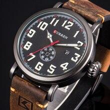 CURREN 가죽 스트랩 남자 시계 패션 디자인 디지털 다이얼 남성 시계 표시 날짜 주 쿼츠 시계 Hodinky Relogio Masculino