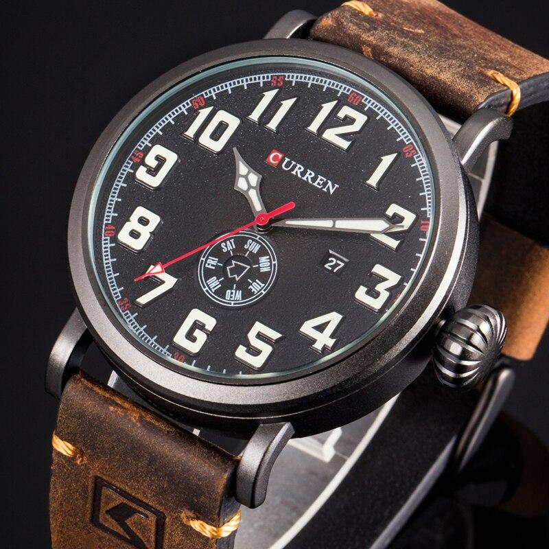 CURREN Leather Strap Men Watch Fashion Design Digital Dial Male Clock Display Date Week Quartz-watch  Hodinky Relogio Masculino