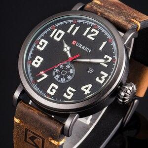 Image 1 - CURREN skórzany męski zegarek na pasku Fashion Design tarcza z cyframi męski wyświetlacz zegara data tydzień zegarek kwarcowy Hodinky Relogio Masculino