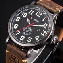 Часы CURREN Мужские с кожаным ремешком, модные дизайнерские кварцевые с цифровым циферблатом, с отображением даты и недели