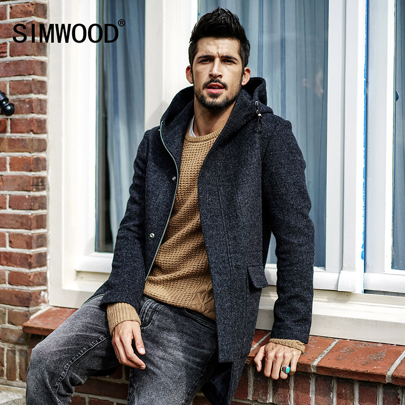 SIMWOOD Hommes Hiver Vestes Laine Hommes Section Plus Longue De Laine Manteaux Hommes Vestes Survêtement Chaud Unique De Laine Marque Vêtements DY017004