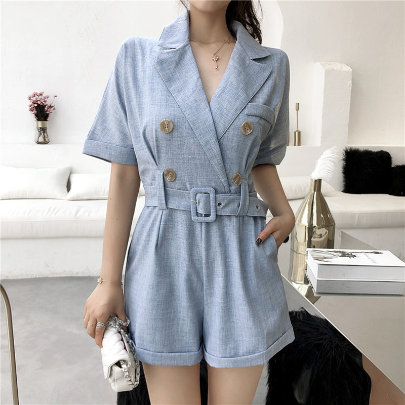 bea3512848a Detail Feedback Questions about Pure Color Bandage Vintage Short Jumpsuit  Romper Women Notched Collar Short Sleeve Summer Bodysuit 2018 Playsuit with  Belt ...