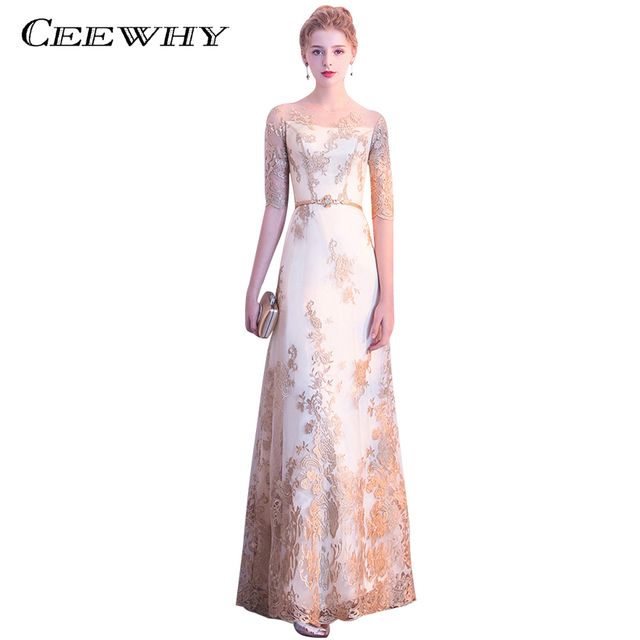 CEEWHY Half Sleeve Prom Dress Vestido de Noche Embroidery Elegant Evening  Dress Long Formal Gowns Evening Party Christmas Dress 7757d4784853