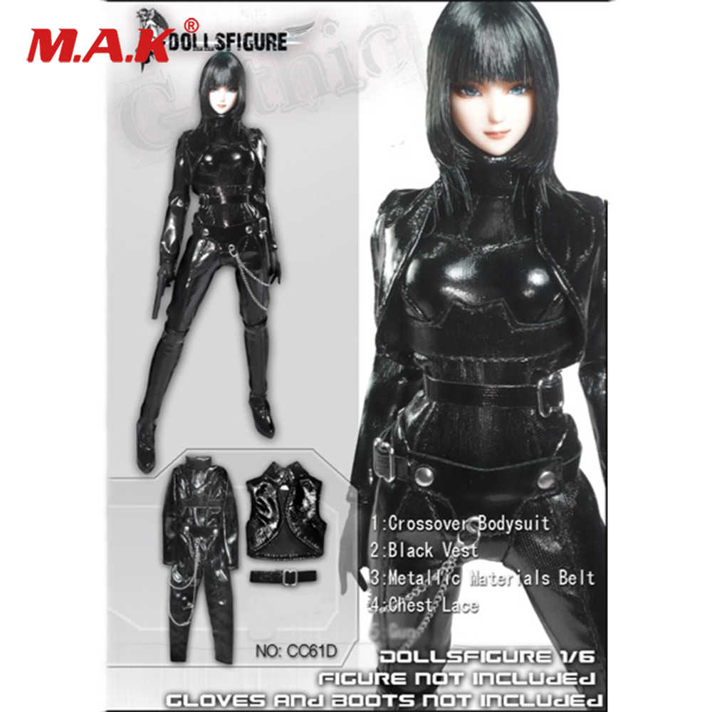 49b8fdec7bfac Female Clothes 1/6 Goth Female Black Leather Tight Suit for 12
