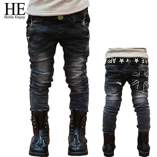 ELE Olá Desfrutar de jeans meninos crianças inverno primavera letras cinto bolso com zíper casuais calças de brim denim calças compridas calças Pant Projetado