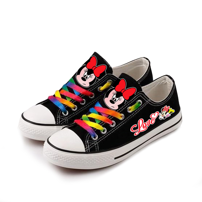 New Cute Mickey Mous Women Girls Kids Canvas shoes Sneakers for Teenagers Printing Cartoon shoes Casual Sports Shoes
