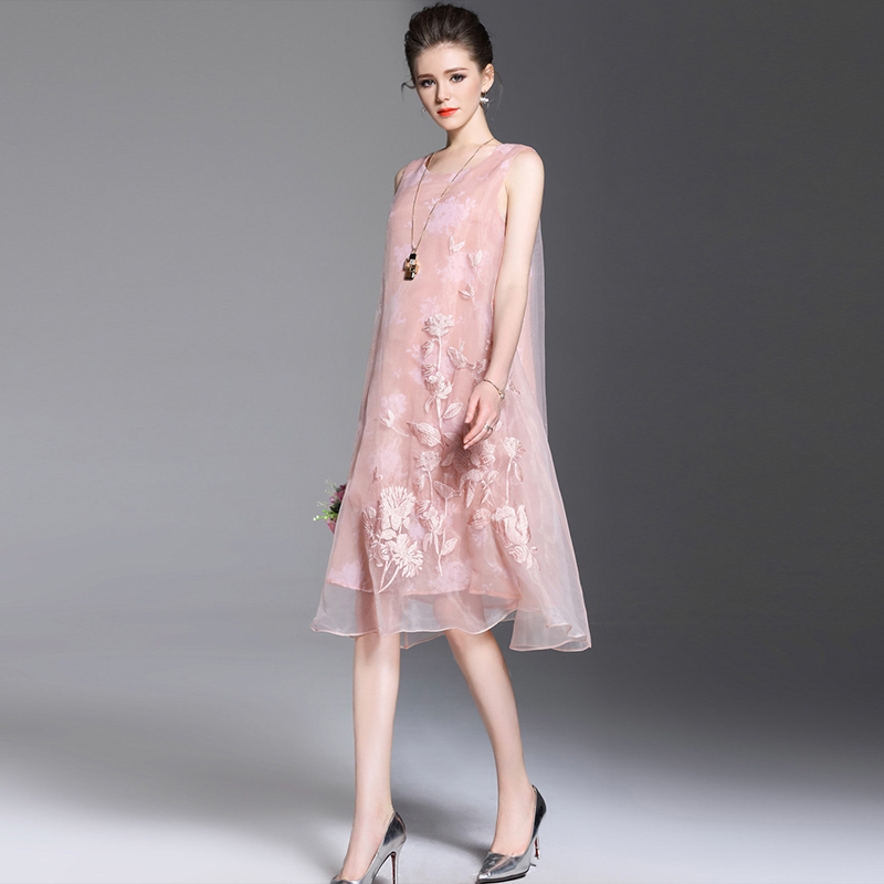 Sleeveless Uniquewho Frauen Mode Dame Organza Elegantes Kleid Lose Rose 2018 ssig Sommer Gestickte Hochwertige L kn0OPw