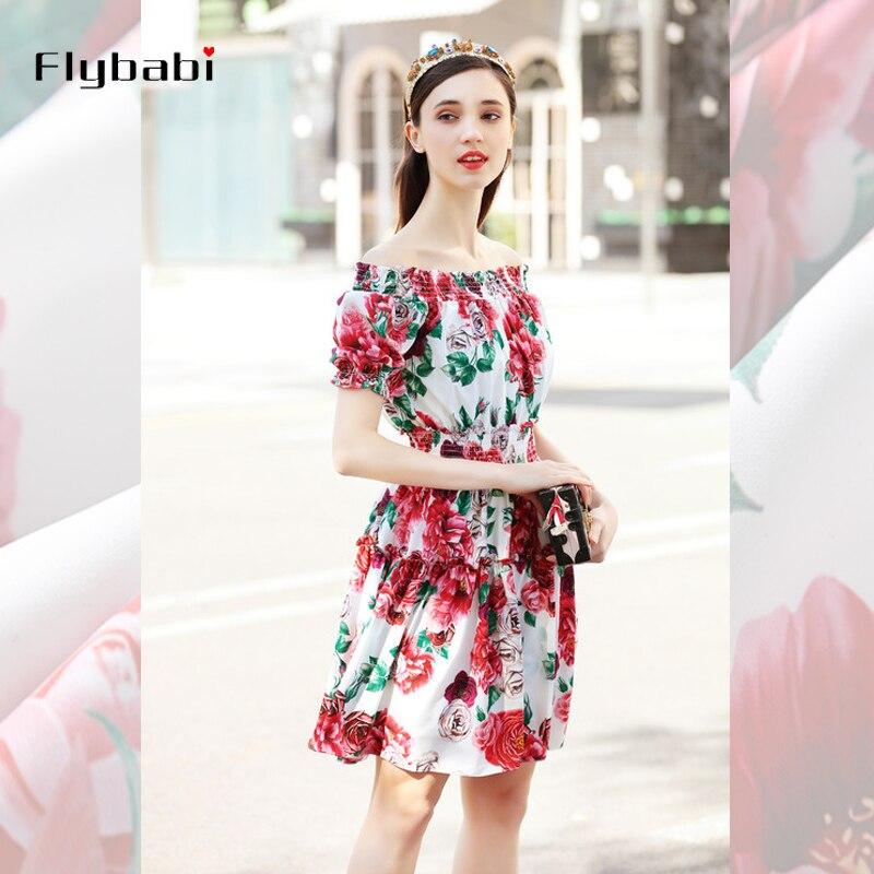 Fête Robe ligne D'été Printemps Vacances Rouge Et De A Court Streetwear Slash Femmes 2018 Impression Ruches Floral Rose Cou xqFwaw1