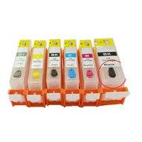 6 pçs bloom compatível PGI-520 CLI-521 vazio cartucho de tinta recarregável para canon mp980 mp990 impressora com chip de restauração automática