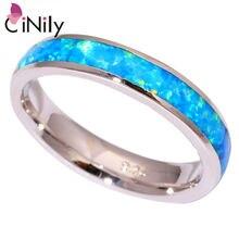 CiNily Океанский Синий огненный опал, парные кольца, посеребренное кольцо для влюбленных, минималистичное простое модное ювелирное изделие, подарки для женщин и мужчин, размер 7, 8