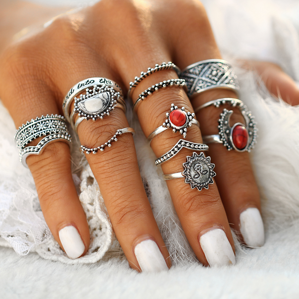 Bohemian finger rings set 1