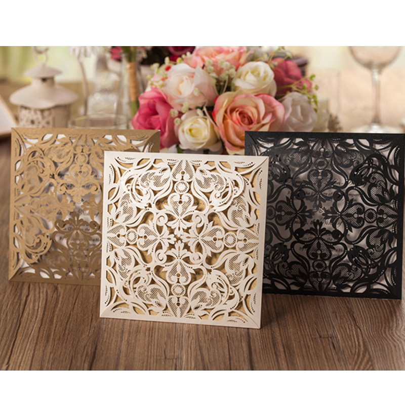 1pcs Sample Gold White Black Laser Cut Rose Flora Wedding Invitations Card Elegant Lace Envelopes & Seals Event & Party Supplies