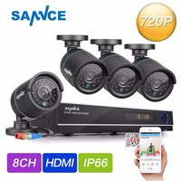 SANNCE HD 720P CCTV Camera System 8CH 1080P HDMI DVR Kit Outdoor Home Security Camara IR