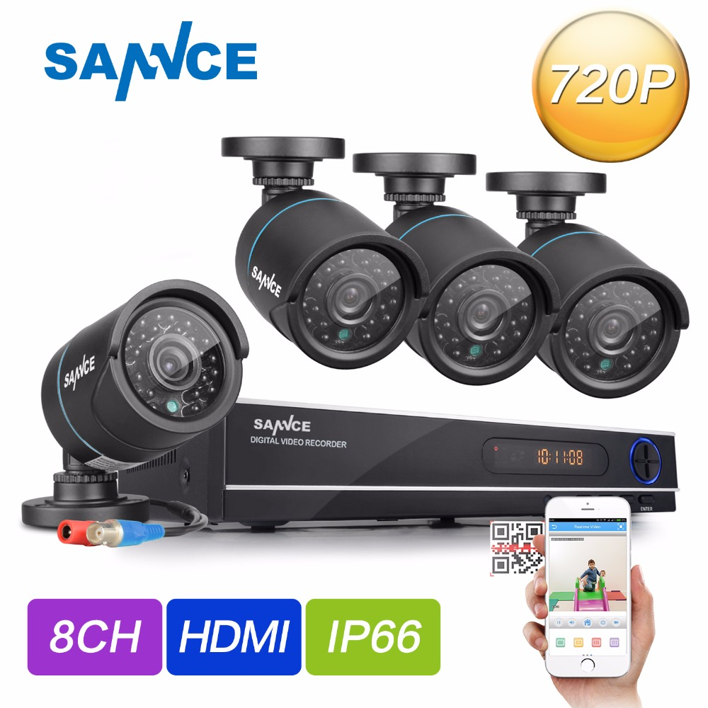 SANNCE HD 720P CCTV Camera System 8CH 1080P HDMI DVR Kit outdoor home Security Camara IR Night Vision 720P Surveillance Kits ...