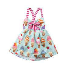 Toddler Bambini Neonate del Vestito Elegante Ice cream Strap Backless Del Partito Principessa Dress Vestito Estivo Vestiti di Estate(China)