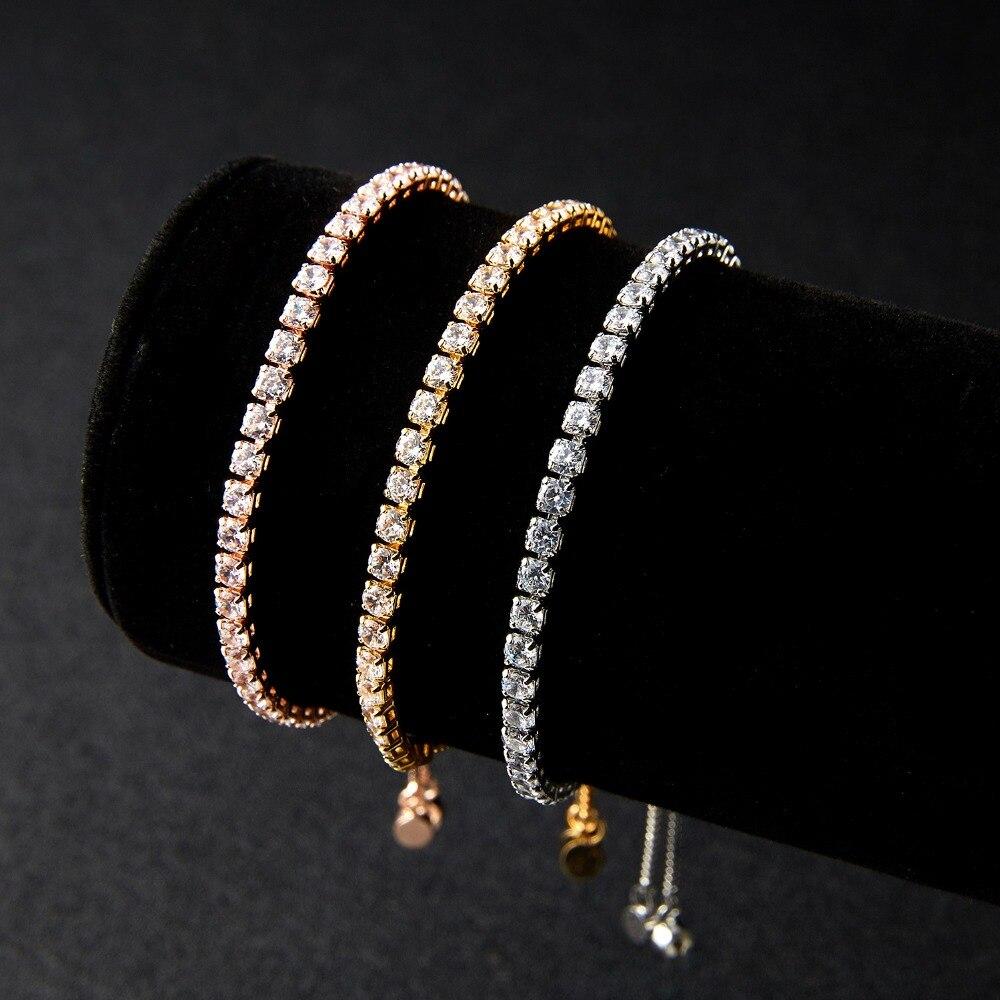 RINHOO Fashion Cubic Zirconia Tennis Bracelet & Bangle Adjustable Pulseras Mujer Charm Bracelet For Women Bridal Wedding Jewelry 1