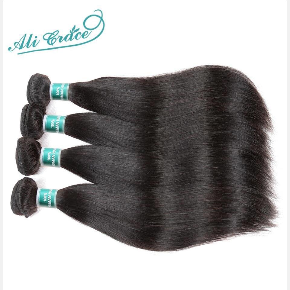 Hair Ali-Grace Straight 4-Bundles Brazilian Natural-Color Weaves 10-28inch 100%Remy