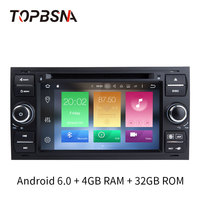 TOPBSNA Car DVD Multimedia Player Android 6.0 For Ford/Mondeo/Focus/Transit/C MAX/S MAX/Fiesta GPS Navi 2 Din car Autoradio WIFI