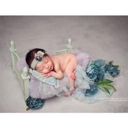 Neugeborenen Fotografie Requisiten Mori Retro Alten Holz Kinderbett Accessoire Bebe Schießen Foto Kleine Holz Bett für Studio Bebe Photographie